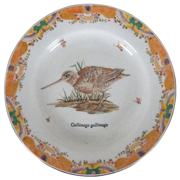 Victorian 8 Decorative Antiqued Porcelain Bird Plates Wong Lee Ornithology For Sale