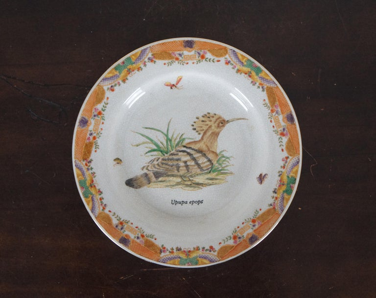 8 Decorative Antiqued Porcelain Bird Plates Wong Lee Ornithology In Good Condition For Sale In Dayton, OH