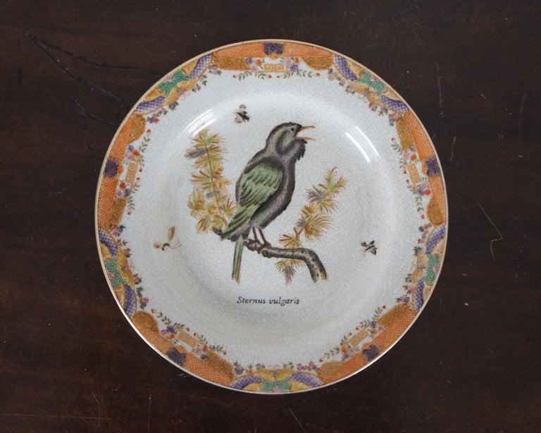 8 Decorative Antiqued Porcelain Bird Plates Wong Lee Ornithology For Sale 4
