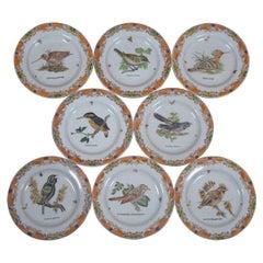 8 Decorative Antiqued Porcelain Bird Plates Wong Lee Ornithology