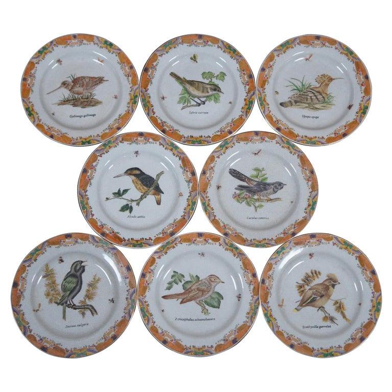 8 Decorative Antiqued Porcelain Bird Plates Wong Lee Ornithology For Sale