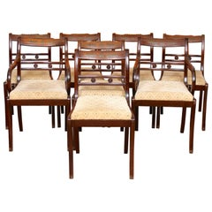 8 Dining Chairs Mahogany Brass Inlaid Carved