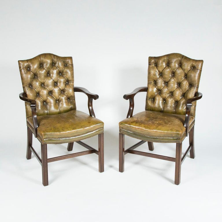 8 Dining Chairs with Leather Button Backs, 2 Carvers and 6 ...