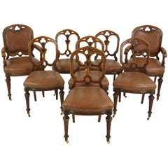 8 Dining Room Chairs, Antique Chairs, Gothic Revival Chairs, Scotland