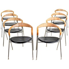 8 Eichenberger Saffa Dining Chairs Dietiker & Stendig Black Vinyl Chrome Cane