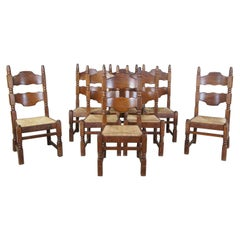 8 European Oak Old World Ladderback Rush Dining Side Chairs Country Farmhouse