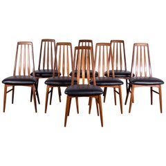 "8 ""Eva"" Teak and Black Leather Dining Chairs by Koefoed for Hornslet Denmark"