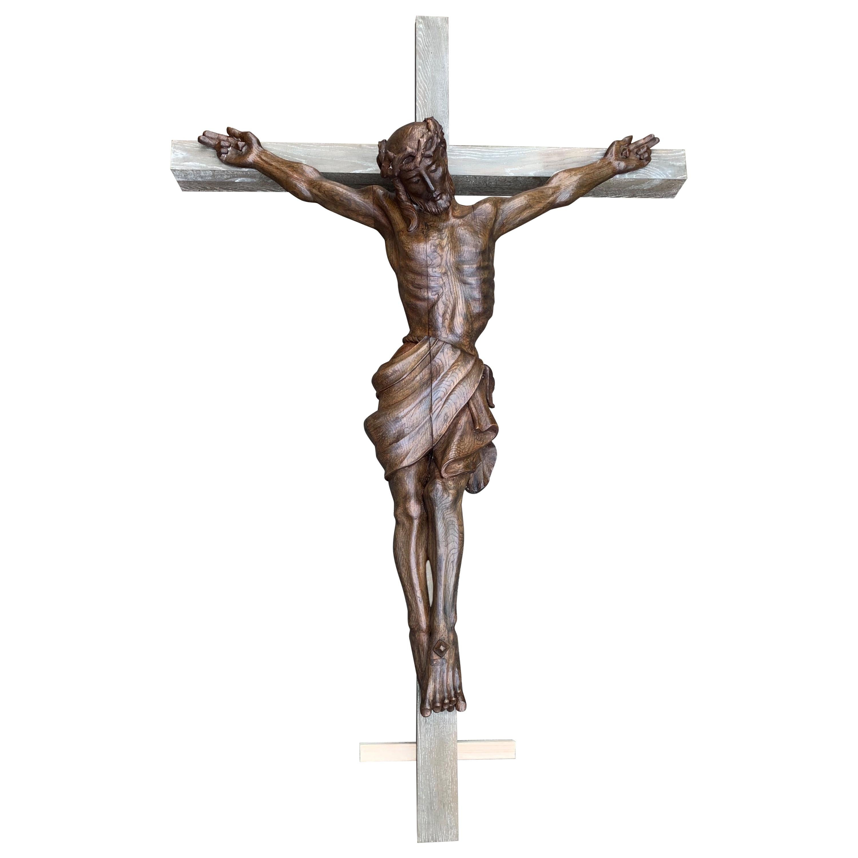 Extra Large Crucifix with Hand Carved Oak Corpus of Christ for Church or Chapel