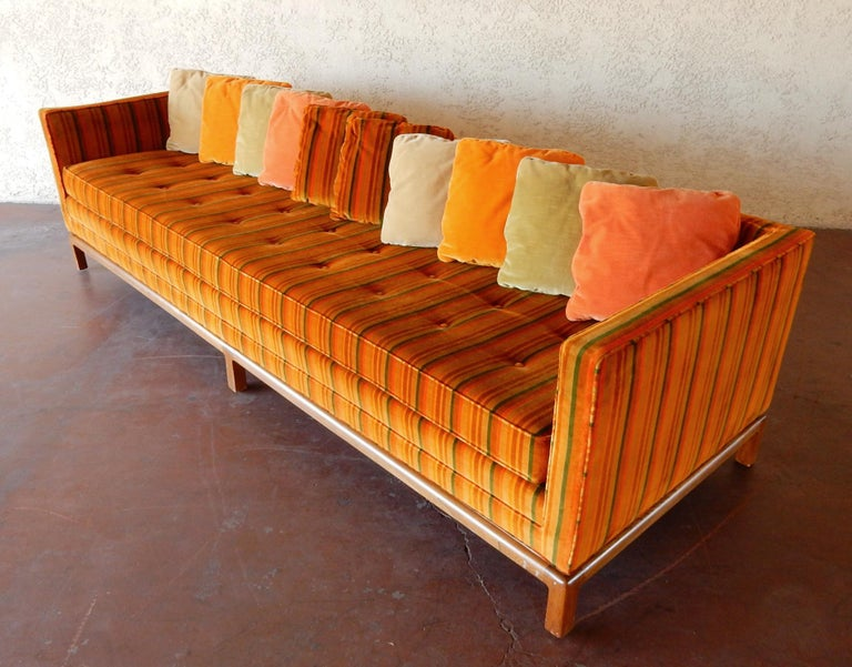 Electrifying 8 foot midcentury sofa by Flair Inc, a division of Bernhardt Furniture of the 1960s and 1970s.