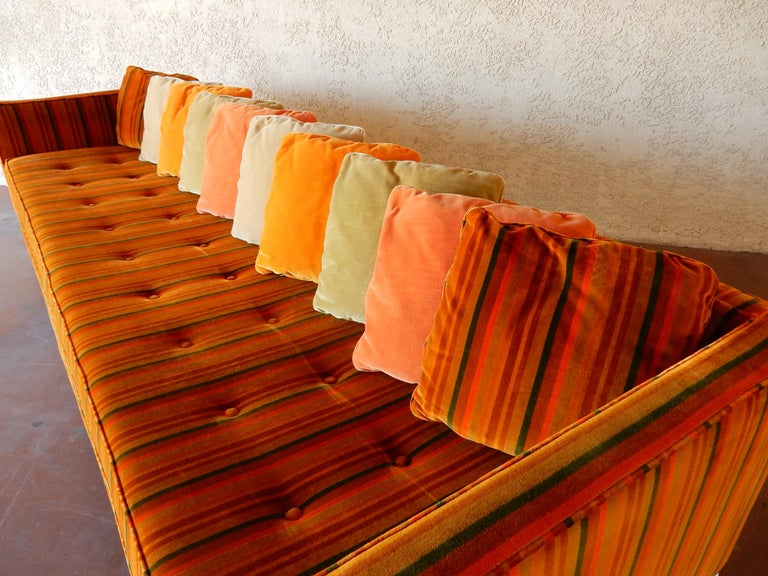 Mid-Century Modern 8 foot long Multi Color Pillow Back Velvet Sofa from the 1960s For Sale