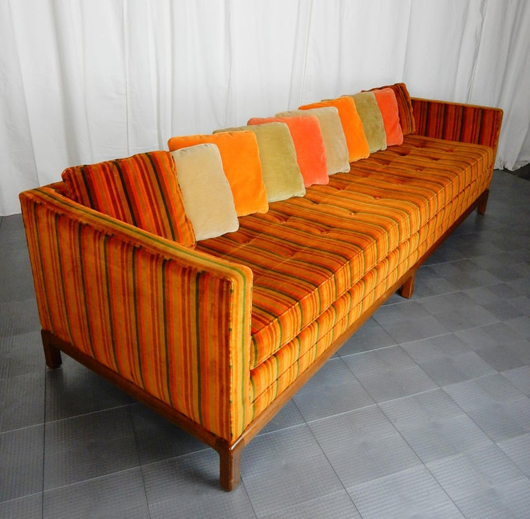 8 foot long Multi Color Pillow Back Velvet Sofa from the 1960s In Good Condition For Sale In Las Vegas, NV