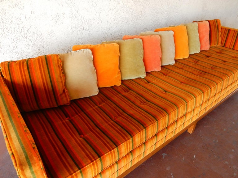 20th Century 8 foot long Multi Color Pillow Back Velvet Sofa from the 1960s For Sale