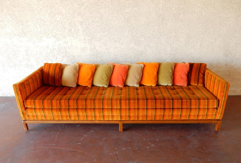 8 foot long Multi Color Pillow Back Velvet Sofa from the 1960s For Sale 1