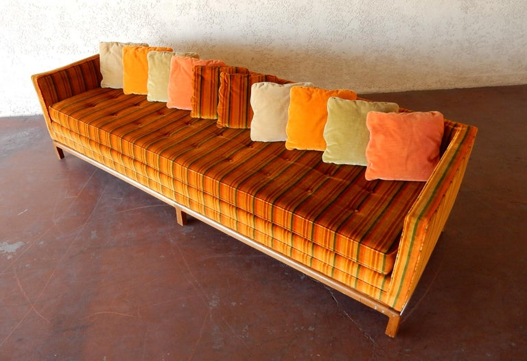 8 foot long Multi Color Pillow Back Velvet Sofa from the 1960s For Sale 3