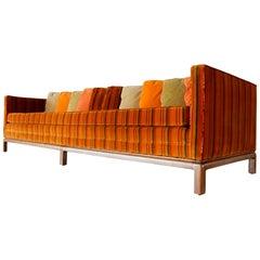 8 foot long Multi Color Pillow Back Velvet Sofa from the 1960s