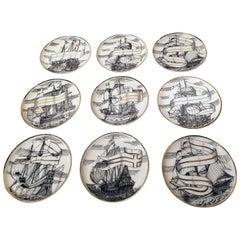 8 Fornasetti Motif Plus 1 Fornasetti Ship Coasters, Deluxe Quality, Japan