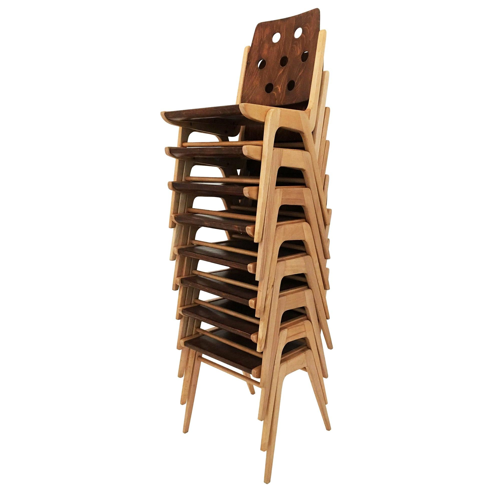 Franz Schuster Stackable Dining Chairs, Set of Eight, Austria, 1950s