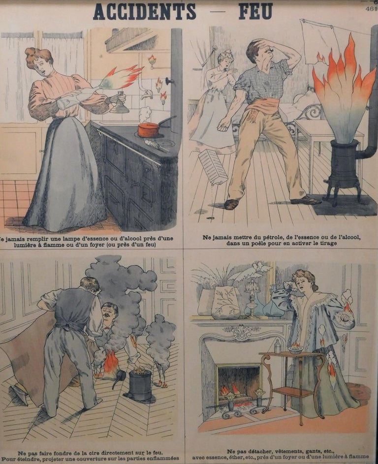 Each with four panels detailing various ways to prevent accidents and lessons learned, including 'Feu, Eau, Contagion, Empoisonnements, and Maison'; based on 19th century original lithographs by Emile Deyrolle; Les Fils d'Emile Deyrolle, Rue du Bac,