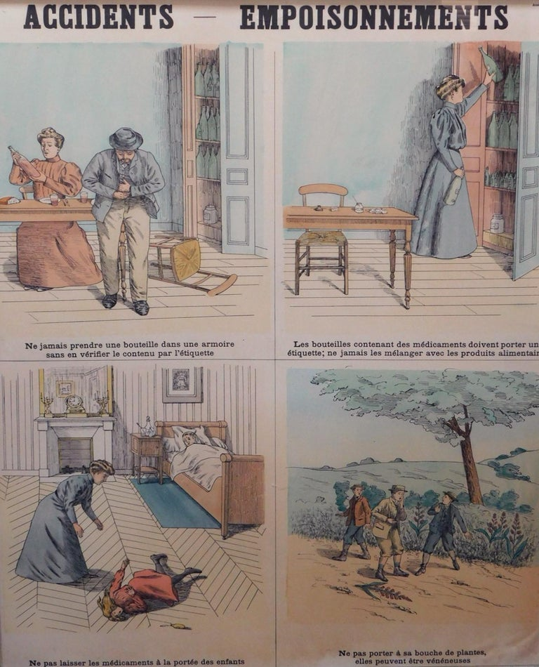 Napoleon III 8 French Teaching Posters for Accident Prevention by Les Fils d'Emile Deyrolle For Sale
