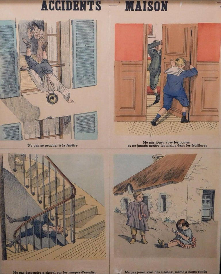 Engraved 8 French Teaching Posters for Accident Prevention by Les Fils d'Emile Deyrolle For Sale