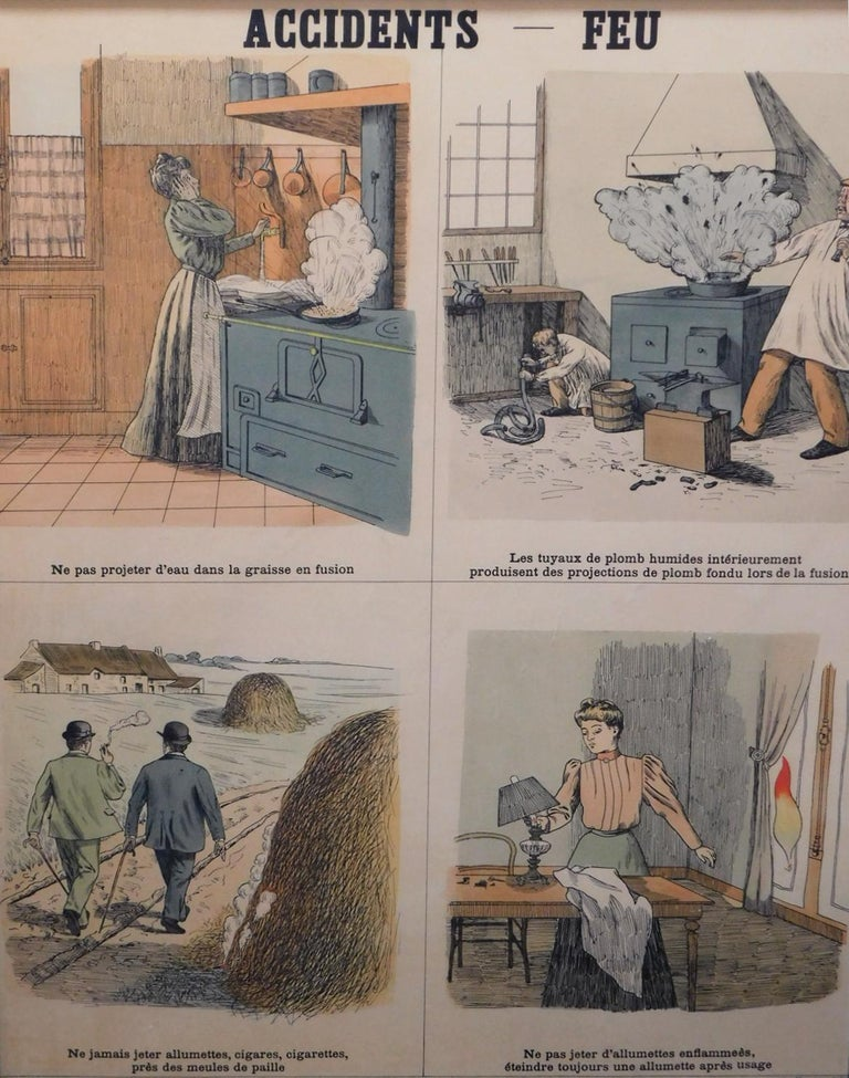 Paper 8 French Teaching Posters for Accident Prevention by Les Fils d'Emile Deyrolle For Sale