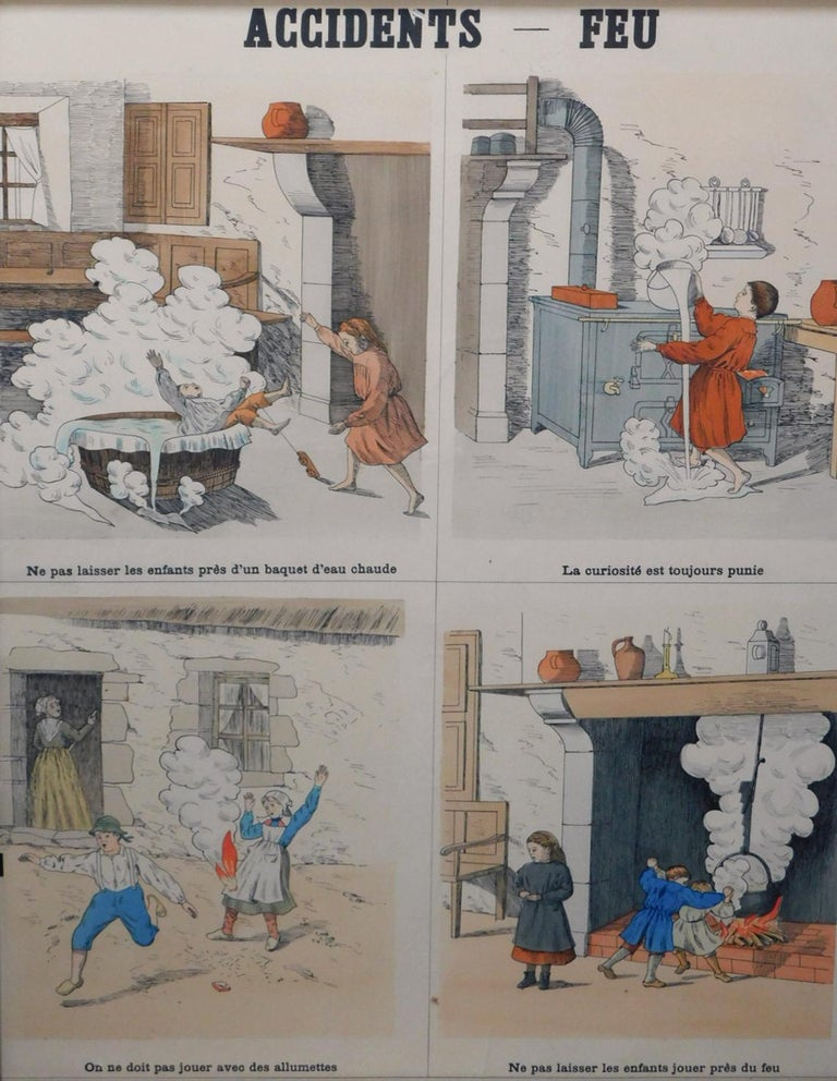 8 French Teaching Posters for Accident Prevention by Les Fils d'Emile Deyrolle For Sale 1