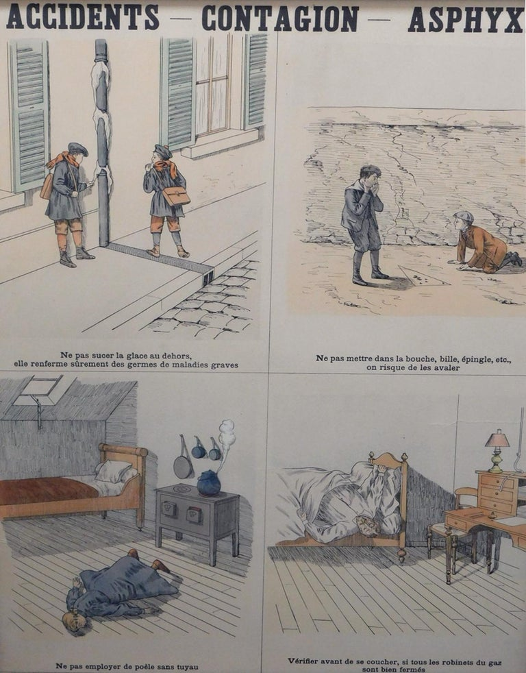 8 French Teaching Posters for Accident Prevention by Les Fils d'Emile Deyrolle For Sale 2