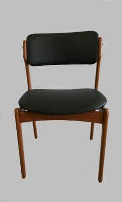 8 Fully Restored Erik Buch Teak Dining Chairs, Reupholstered in Black Leather