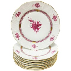 "8 Herend ""Chinese Bouquet Raspberry"" Large Dessert Plates"