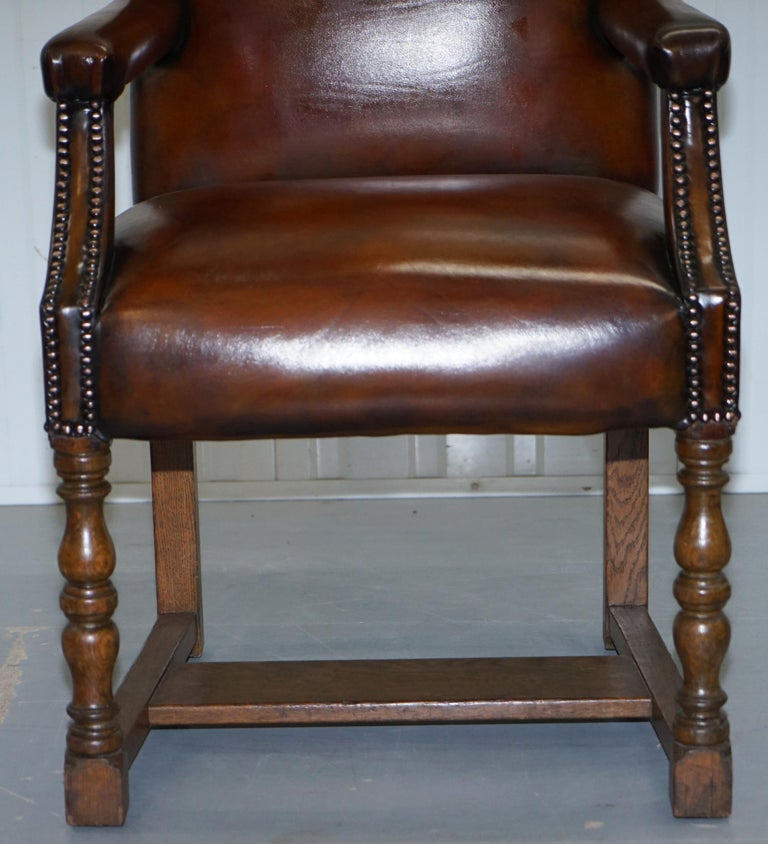8 Howard & Son's Stamped circa 1900 Brown Leather Carver Gainsborough Armchairs For Sale 4