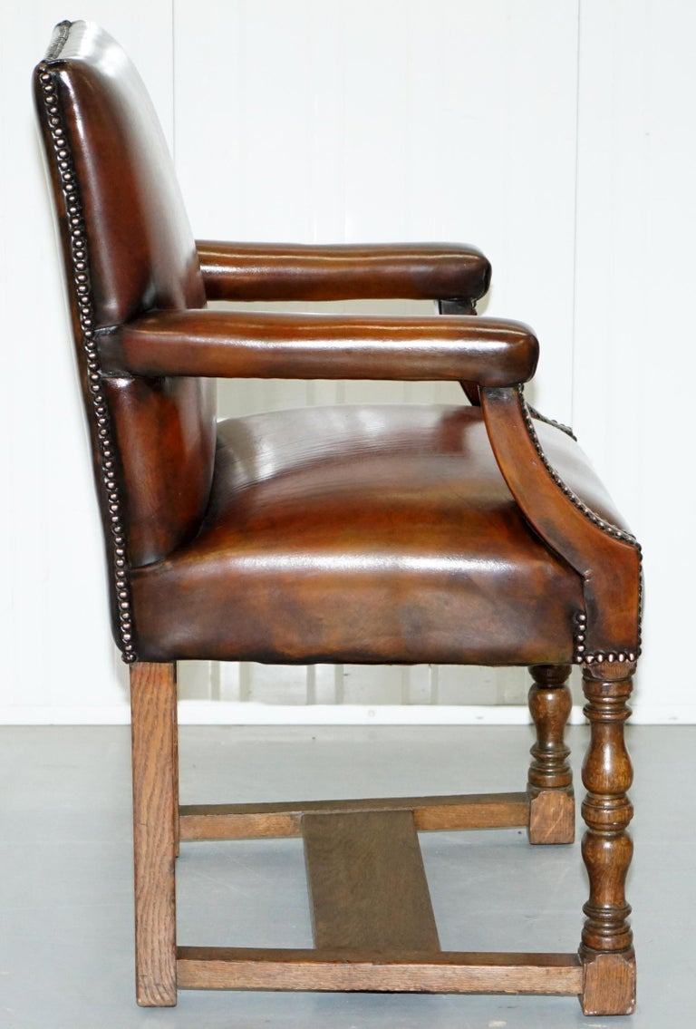 8 Howard & Son's Stamped circa 1900 Brown Leather Carver Gainsborough Armchairs For Sale 6