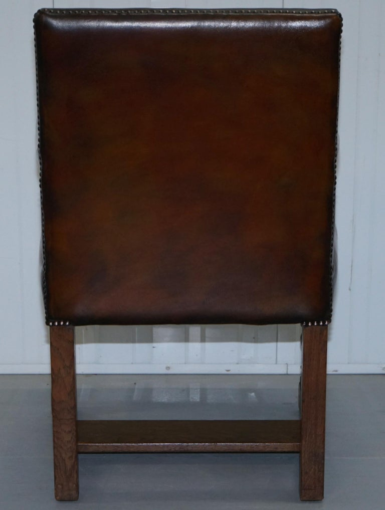 8 Howard & Son's Stamped circa 1900 Brown Leather Carver Gainsborough Armchairs For Sale 7