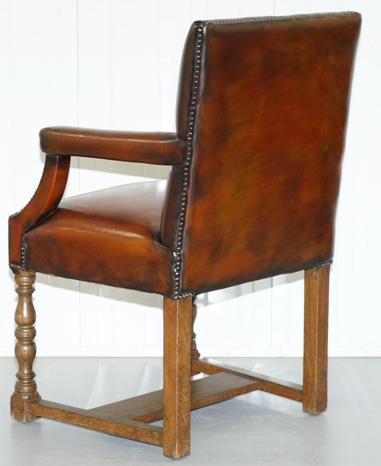 8 Howard & Son's Stamped circa 1900 Brown Leather Carver Gainsborough Armchairs For Sale 8
