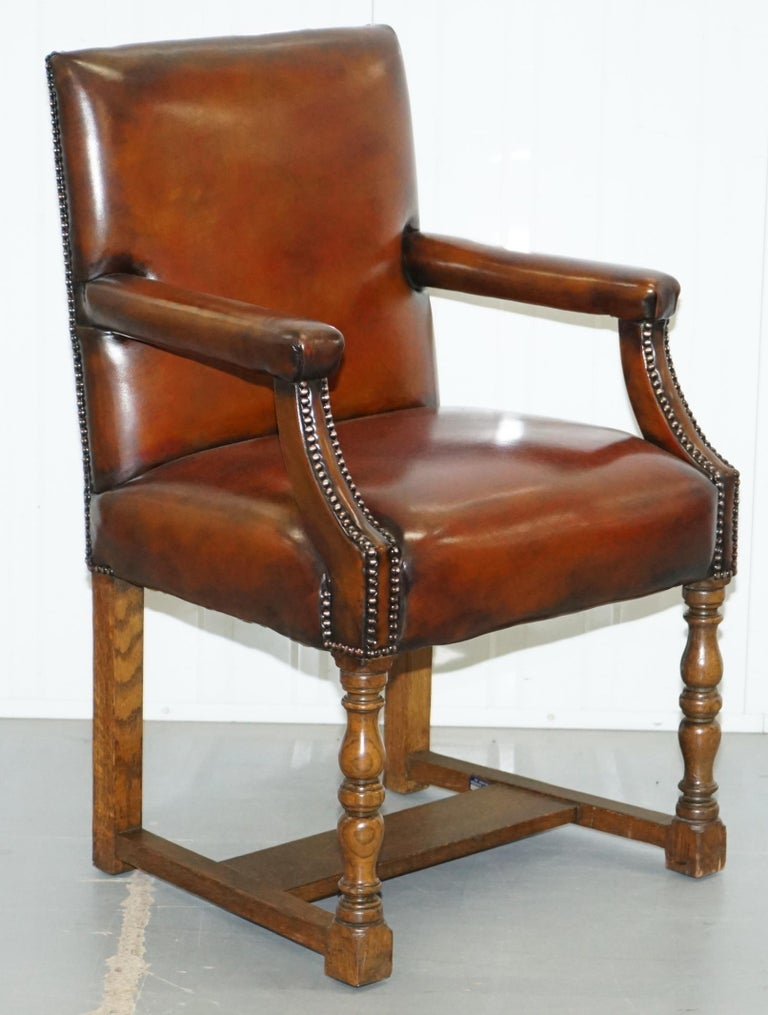 8 Howard & Son's Stamped circa 1900 Brown Leather Carver Gainsborough Armchairs For Sale 11