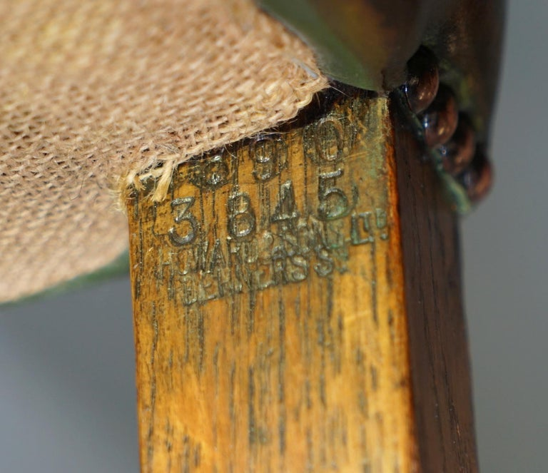 8 Howard & Son's Stamped circa 1900 Brown Leather Carver Gainsborough Armchairs For Sale 12