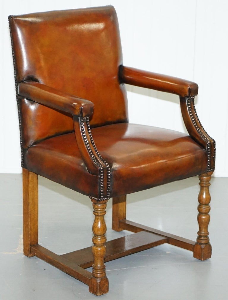 8 Howard & Son's Stamped circa 1900 Brown Leather Carver Gainsborough Armchairs For Sale 13