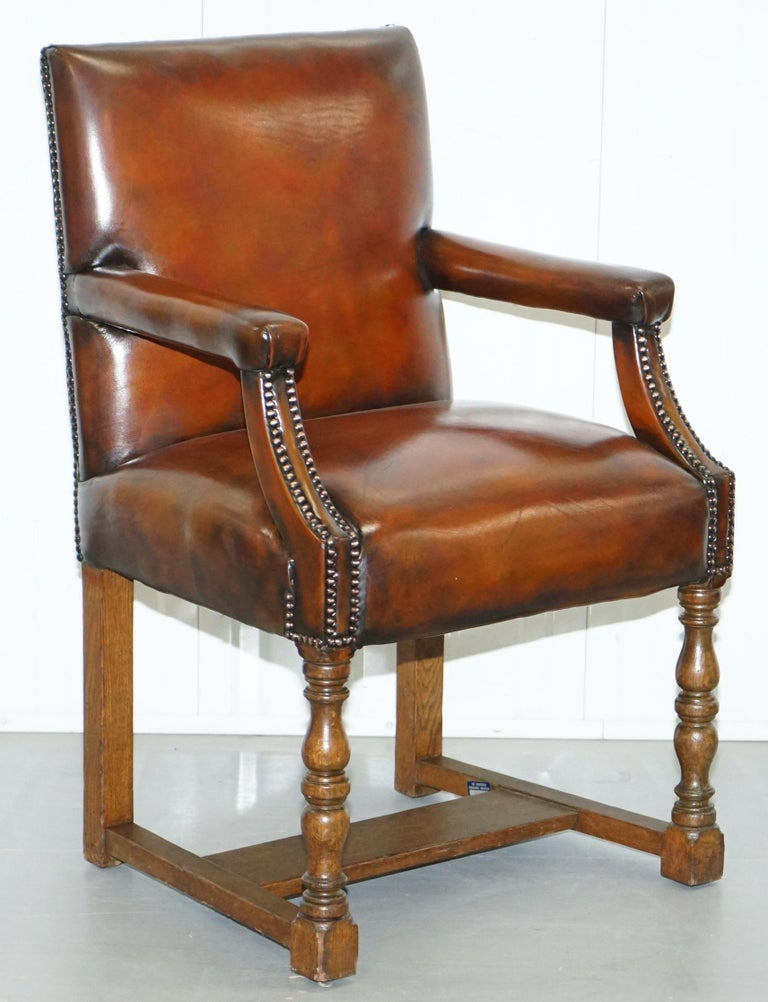 Edwardian 8 Howard & Son's Stamped circa 1900 Brown Leather Carver Gainsborough Armchairs For Sale