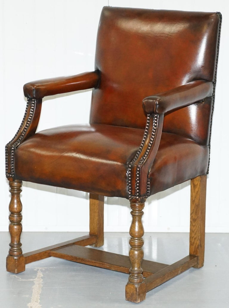 Hand-Crafted 8 Howard & Son's Stamped circa 1900 Brown Leather Carver Gainsborough Armchairs For Sale