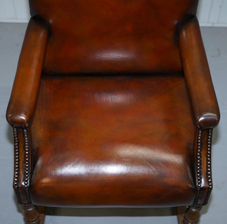 Early 20th Century 8 Howard & Son's Stamped circa 1900 Brown Leather Carver Gainsborough Armchairs For Sale