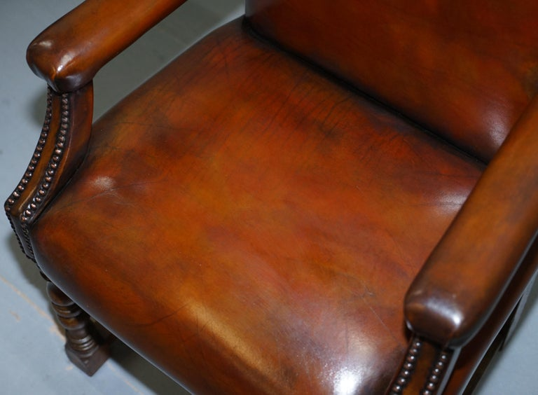 8 Howard & Son's Stamped circa 1900 Brown Leather Carver Gainsborough Armchairs For Sale 1