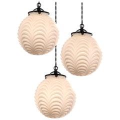 Drape Pattern Milk Glass Globes