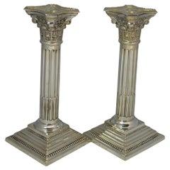 Hallmarked Sterling Silver Corinthian Column Candlesticks