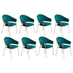 8 Italian Upholstered Dining Chairs, Blue Velvet / Antique Brass