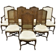 8 John Widdicomb Walnut Cane Back French Country Louis XV Style Dining Chairs