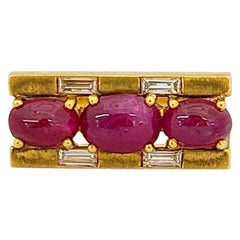 8 Karat Yellow Gold 3.80 Carat Cabochon Ruby and Baguette Diamond Ring