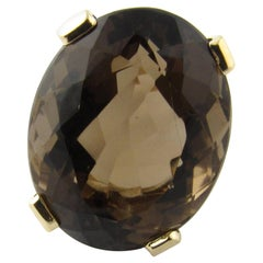 8 Karat Yellow Gold Smoky Topaz Ring Size