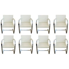8 Knoll Chrome and White Leather Modern Chairs