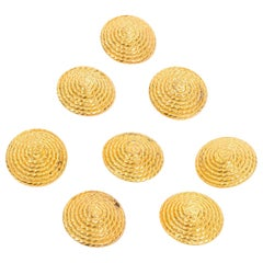 8 Large Vintage Chanel Buttons in Gold W CC Monogram in twisted rope design