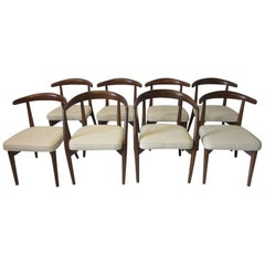 8 Lawrence Peabody Walnut Dining Chairs for Craft Associates