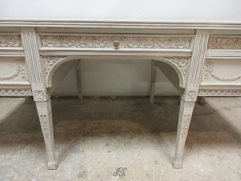 Swedish 8 Leg Gustavian Style Carved Desk For Sale